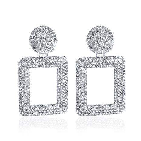 nouveau style de mode boucles d'oreilles exagérées clignotant diamant boucles d'oreilles géométriques carrées en gros NHCU248303's discount tags