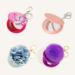 creative portable PU multi-color mirror keychain NHAP248309