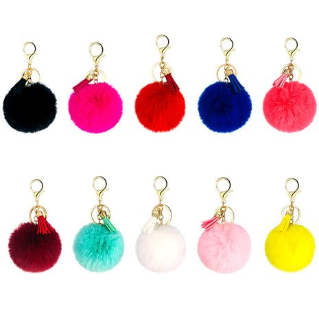 new 20-color fresh tassel imitation rex rabbit fur ball keychain  NHAP248328's discount tags