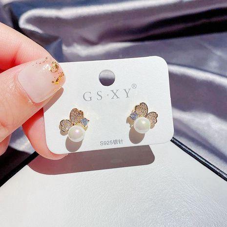 Aiguille en argent coréen S925 exquise simple zircon micro-incrusté d'amour boucles d'oreilles en cuivre doux sauvage NHCG248329's discount tags