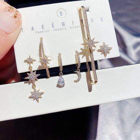 Star de la mode de style coréen micro-incrusté de zircon goutte d'eau lune boucles d'oreilles en cuivre ensemble de 6 pièces NHCG248331's discount tags