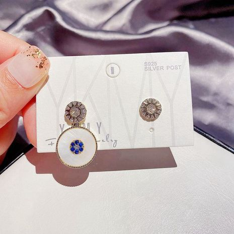 Boucles d'oreilles micro-incrustées de zircon aiguille en argent 925 à la mode asymétrique pour les femmes NHCG248341's discount tags