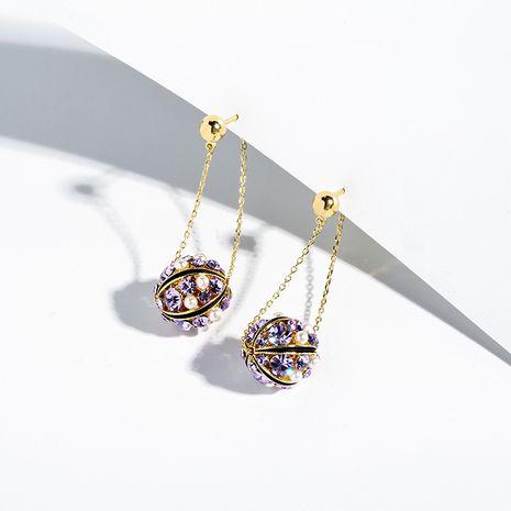 Brillant brillant aiguille en argent 925 violet exagéré boucles d'oreilles élégantes d'été en gros NHPP248356's discount tags