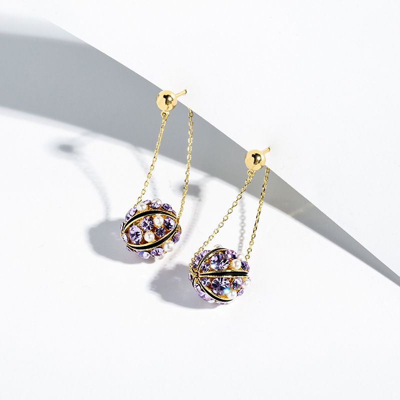 Shining bright 925 silver needle purple exaggerated summer elegant earrings wholesale NHPP248356