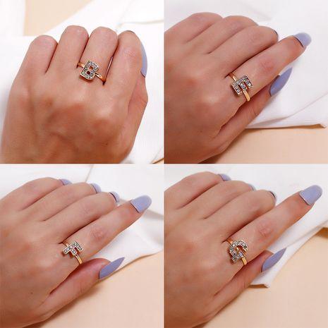 Fashion creative diamond Korea simple alloy adjustable letter ring wholesale NHKQ248363's discount tags