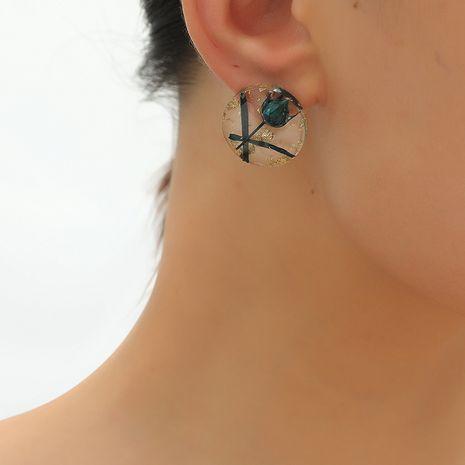 S925 argent aiguille mode rétro goutte à goutte oléorésine fleur corée rondes boucles d'oreilles transparentes sauvages fraîches NHKQ248374's discount tags