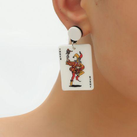 mode nouveau style ethnique Corée S925 roi acrylique frit boucles d'oreilles cartes à jouer NHKQ248380's discount tags