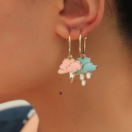 Boucles d'oreilles en alliage de couleur dégoulinant de nuage de foudre asymétrique de mode coréenne NHKQ248398's discount tags