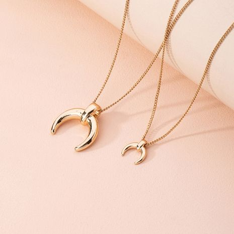 new fashion crescent pendant multi-layer retro gold simple niche alloy necklace wholesale NHAI248409's discount tags