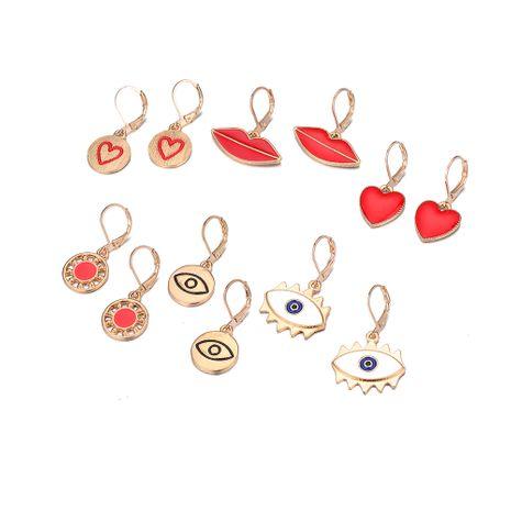 géométrique ronde goutte d'huile rouge amour boucles d'oreilles lèvres rouges boucles d'oreilles oeil du diable en gros NHOA248425's discount tags
