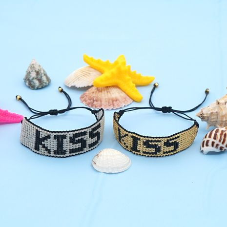 hot-saling Korean fashion rice beads hand-woven KISS letter bracelet NHGW248450's discount tags