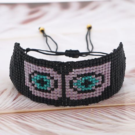 hot-saling ethnic style Korean rice bead woven purple devil eye bracelet for women NHGW248451's discount tags