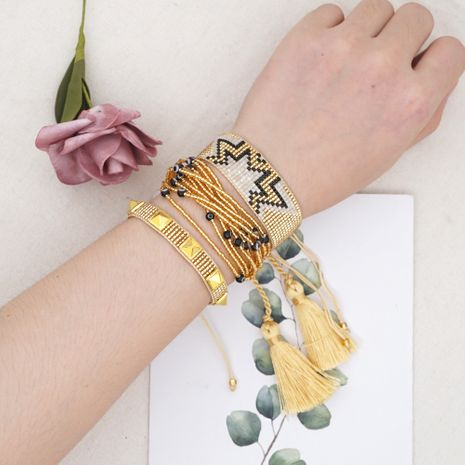hot-saling multi-layer set of ornaments rice bead woven ethnic style bracelet for women NHGW248464's discount tags