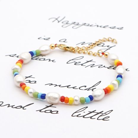 simple wild natural pearl rainbow millet bead bracelet for women NHGW248465's discount tags