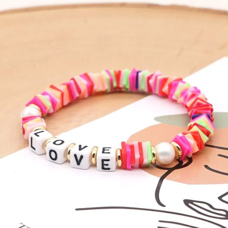 fashion trendy vacation beach style natural pearl color soft ceramic letter bracelet NHGW248471's discount tags