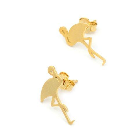 Mode animaux grue à couronne rouge brossé boucles d'oreilles grue à longues jambes flamant rose en gros NHMO248477's discount tags