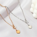 new simple loveshaped wild long heart alloy pendant necklace clavicle chain for women NHMO248478