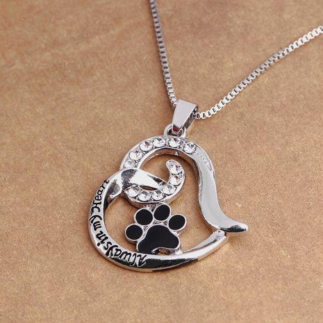 Mode neue Liebe geformte Hundepfote Diamant Schriftzug Halskette NHMO248510's discount tags