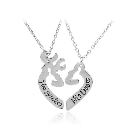 fashion hot-selling english letter love-shaped elk suit couple necklace  NHMO248515's discount tags