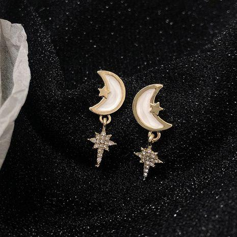 star and moon earrings 925 silver needles  diamond earrings wholesale NHWF248518's discount tags