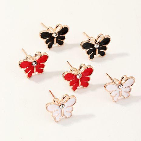 Boucles d'oreilles coréenne de dessin animé de goutte d'huile papillon mignonne perle tout-match en gros NHNU248521's discount tags