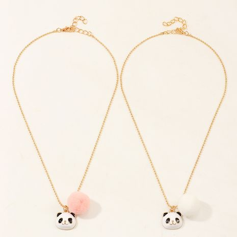 Chinese style cute panda alloy dripping oil necklace creative animal short necklace wholesale NHNU248522's discount tags