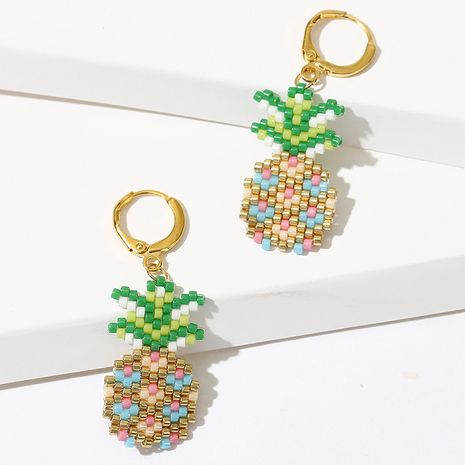 Creative hand-woven pineapple rice bead beaded fruit earrings wholesale  NHLA248540's discount tags