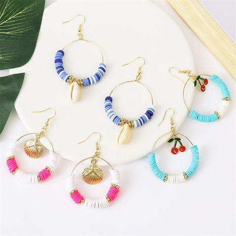 Böhmische Muschelfarbe Perlen weiche Keramik kreative handgemachte Kirschohrringe Großhandel Nihaojewelry NHLA248541's discount tags
