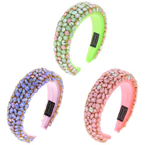New three-color jelly color sponge glass rhinestone fashion hair accessories NHCO248542's discount tags