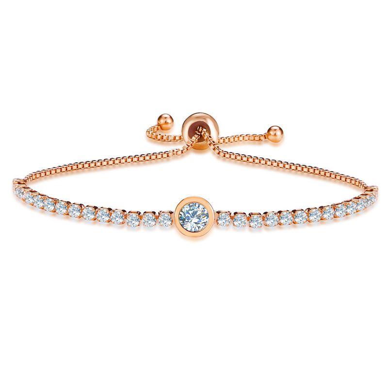 Fashion simple inlaid crystal push-pull ladies gold full diamond single row bracelet NHPJ248553