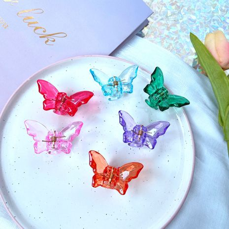 Pure color butterfly girl hair trim  with teeth bangs clip wholesale NHPJ248558's discount tags