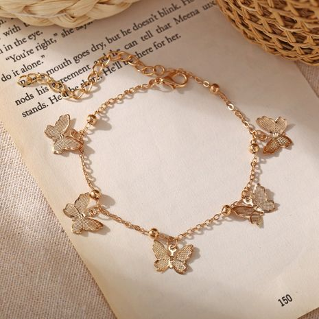 Fashion new beach hollow butterfly alloy pendant handmade anklet NHPJ248564's discount tags