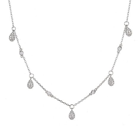 Korean 925 silver simple fashion clavicle chain Water drop diamond zircon necklace for women NHTF248565's discount tags