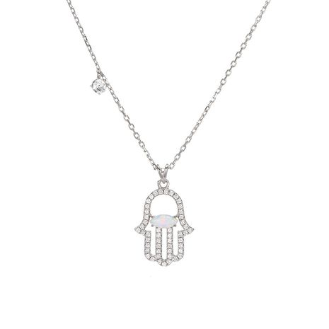 Simple fashion palm pendant with diamond 925 silver accessories clavicle chain necklace for women NHTF248568's discount tags