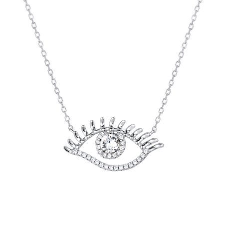 new ladies eyes clavicle chain 925 silver inlaid devil's eye silver necklace NHTF248570's discount tags