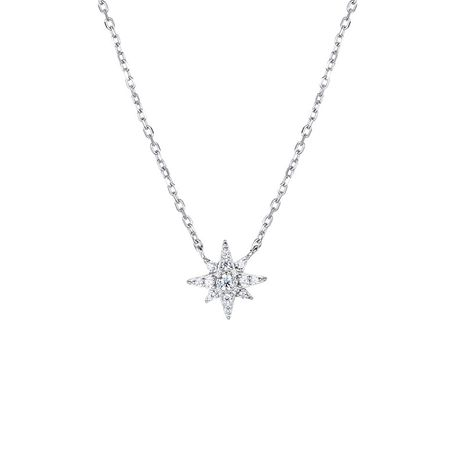 new fashion 925 silver Korean women's snowflake zircon simple  necklace NHTF248573's discount tags