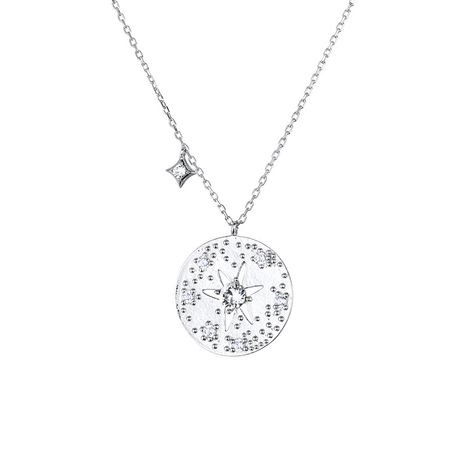 fashion 925 silver geometric round pendant inlaid ladies zircon necklace  NHTF248580's discount tags