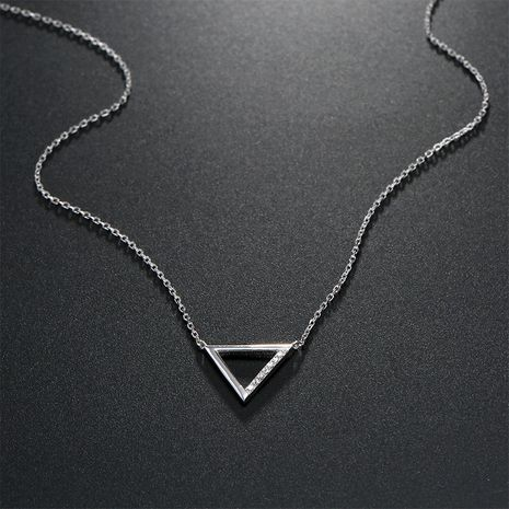 Silver fashion geometric triangle pendant fashion women's 925 silver clavicle chain wholesale  NHTF248581's discount tags