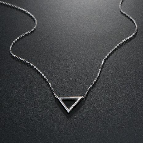 Silver fashion geometric triangle pendant fashion women's 925 silver clavicle chain wholesale  NHTF248581's discount tags