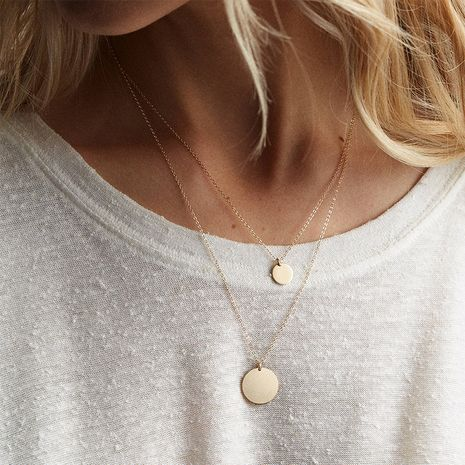 Simple Double-layer Stainless Steel Round Pendant Short Necklace for women Hot-saling NHTF248591's discount tags