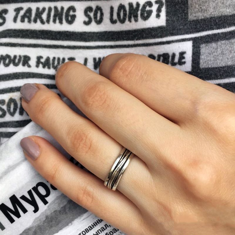New Retro 925 Silver Punk Geometry Ring wholesale nihaojewelry NHTF248594