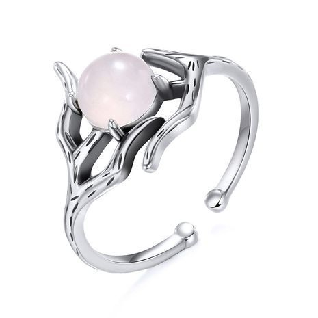 fashion open ring hollow 925 silver inlaid glass ring wholesale nihaojewelry NHTF248595's discount tags