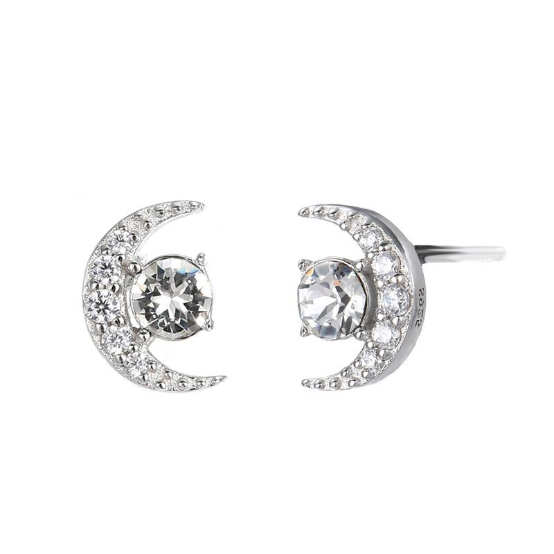 Hot-selling trendy fashion 925 silver simple full diamond moon women's accessories earrings wholesale NHTF248598