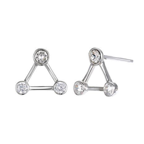 new fashion 925 white fungus nails women's diamond and zircon simple triangle earrings NHTF248609's discount tags