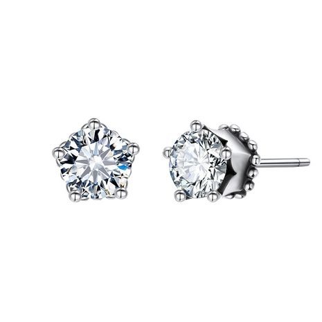 Fashion 925 silver Korea round zircon hot-selling classic diamond earrings for women NHTF248615's discount tags