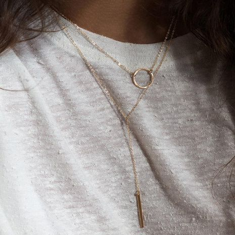 Fashion stacking trend clavicle chain stainless steel level geometric pendant necklace for women NHTF248616's discount tags