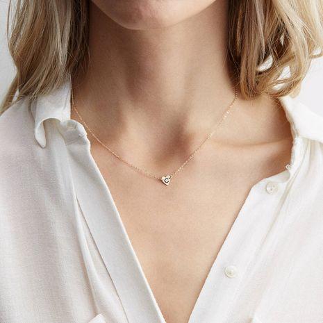 Korean simple titanium steel lettering letter pendant short rose gold necklace for women NHTF248623's discount tags