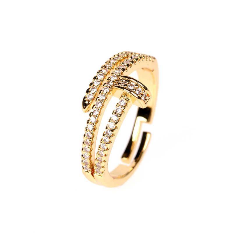 New classic trend nail copper goldplated microinlaid zircon nail ring wholesale nihaojewelry NHPY248632