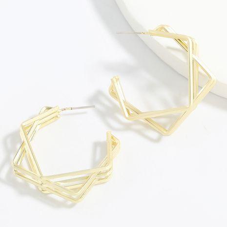 Boucles d'oreilles minimalistes de mode géométrique empilées en alliage carré multicouche série d'alliage simple en gros NHJE248638's discount tags