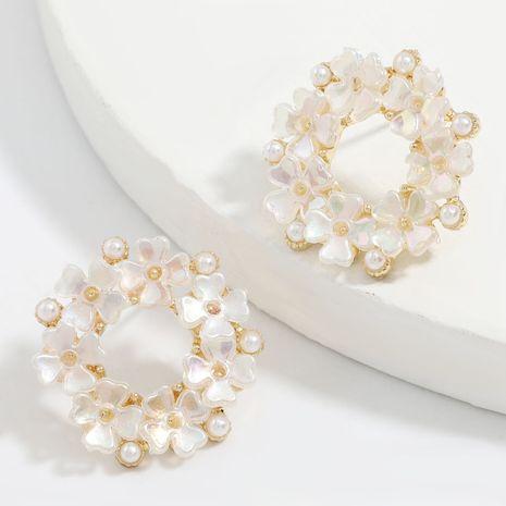 Korea round alloy multilayer resin flower earrings wholesale nihaojewelry NHJE248641's discount tags